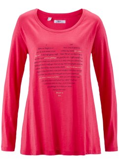 T-shirt fil flammé avec base large, bpc bonprix collection, rose hibiscus imprimé