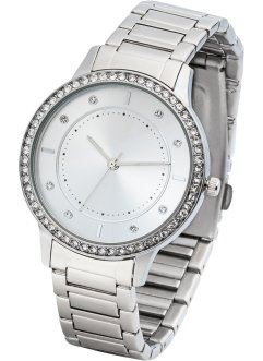 Montre à bracelet en métal avec strass, bpc bonprix collection
