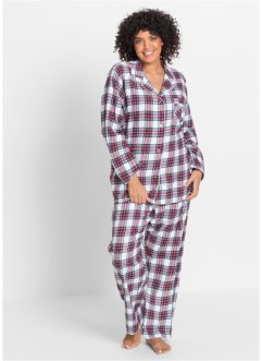 Pyjama en flanelle, bpc bonprix collection, blanc/rouge/bleu/jaune clair