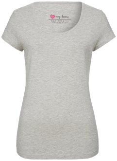 T-shirt manches courtes extensible, bpc bonprix collection, gris clair chiné