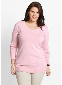 Pull long en maille fine, bpc bonprix collection, rose nacré