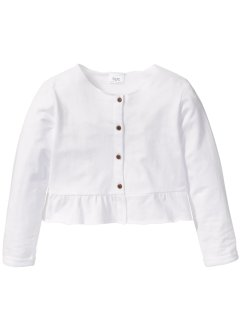 Gilet sweat avec ruchés, bpc bonprix collection, blanc