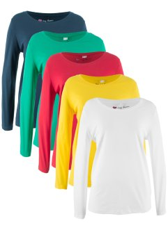 Lot de 5 T-shirts col rond à manches longues, bpc bonprix collection