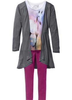 T-shirt + cardigan + legging (Ens. 3 pces.), bpc bonprix collection