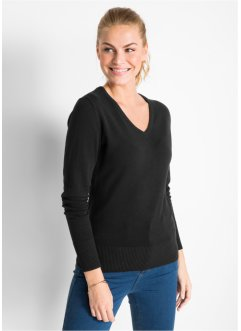 Pull col en V en fine maille, bpc bonprix collection