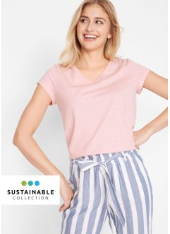 T-shirt col V éco-responsable en coton bio, bpc bonprix collection
