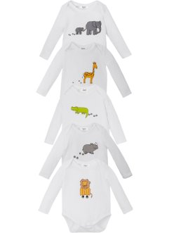 Lot de 5 bodies bébé manches longues coton bio, bpc bonprix collection