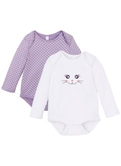Lot de 2 bodies bébé manches longues coton bio, bpc bonprix collection