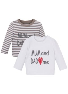 Lot de 2 T-shirts bébé manches longues coton bio, bpc bonprix collection