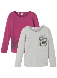 Lot de 2 T-shirts manches longues fille coton bio, bpc bonprix collection