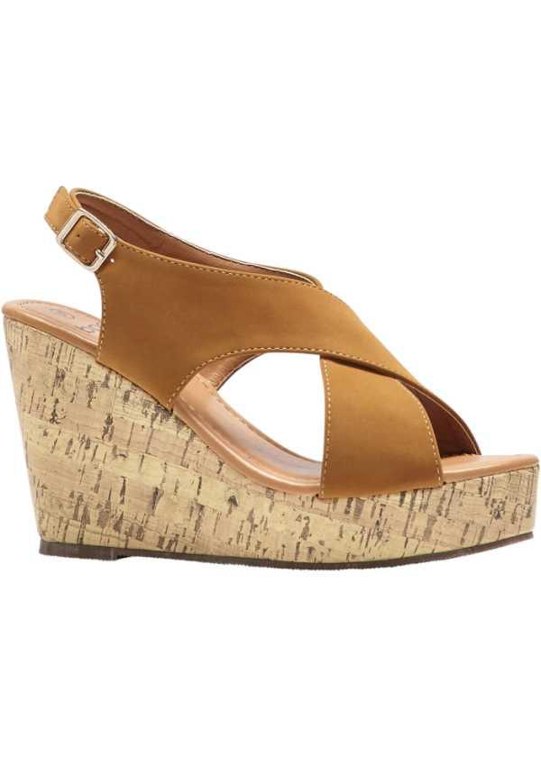 Sandales compensées tendance avec brides croisées noir