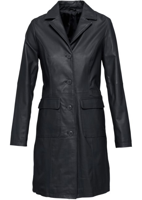 Veste en cuir noir longue
