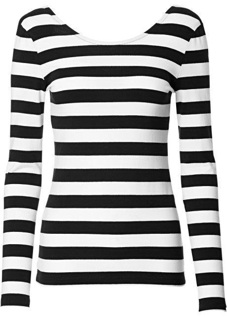 T-shirt manches longues noir blanc rayé - Femme - RAINBOW - bonprix.fr df7bdcf13331