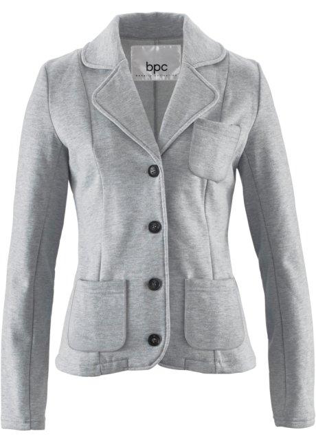 5211f721af Blazer court en matière sweat avec poches - gris clair chiné