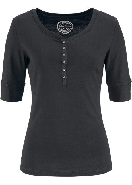 9a35d56614450 T-shirt demi-manches avec patte de boutons noir - Femme - bonprix.fr
