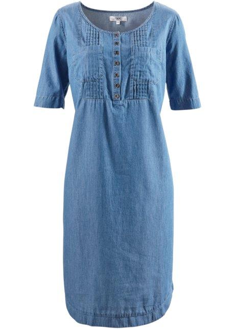 Robe en coton jean, demi-manches bleu stone - bpc bonprix collection ... 4b939d88726