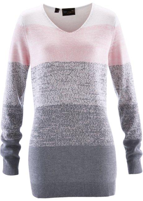 9aa4b6d3fc09 Pull long à teneur en cachemire rose dragée gris chiné - Femme - bpc ...