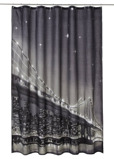 Rideau de douche à LED Brooklyn Bridge blanc/noir/gris - bpc living ...