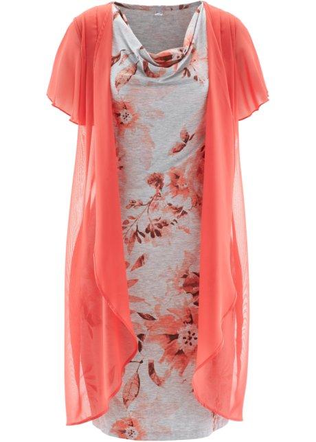 569e4c2ad69fd Robe style double épaisseur gris clair chiné rose dragée imprimé ...