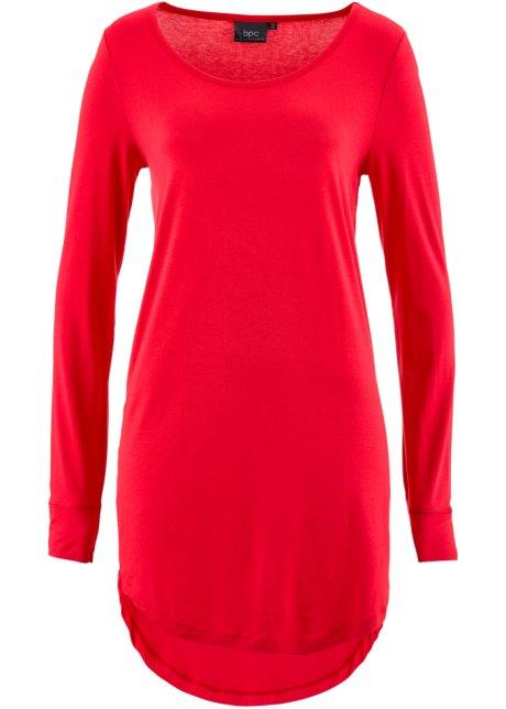 T-shirt long à manches longues rouge - Femme