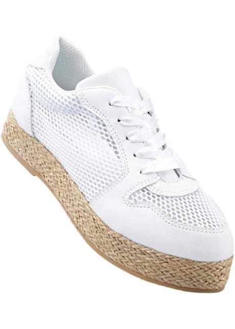 RAINBOW Bonprix - Espadrilles à lacets blanc pour femme