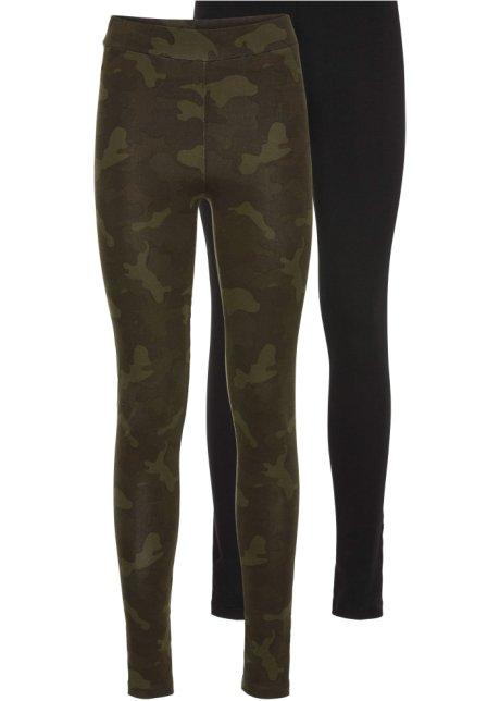 Lot de 2 leggings vert kaki imprimé   noir - Femme - bonprix.fr 4bd6ba8f9ca