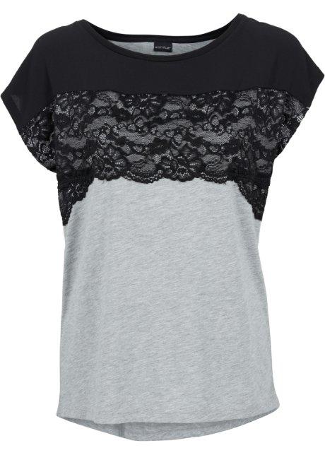 3fa9746cd232 T-shirt avec dentelle noir gris clair chiné - - bonprix.fr