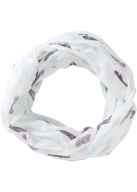 Écharpe-tube à imprimé plume blanc cassé myrtille violet mat bleu ... ba7e5881a72