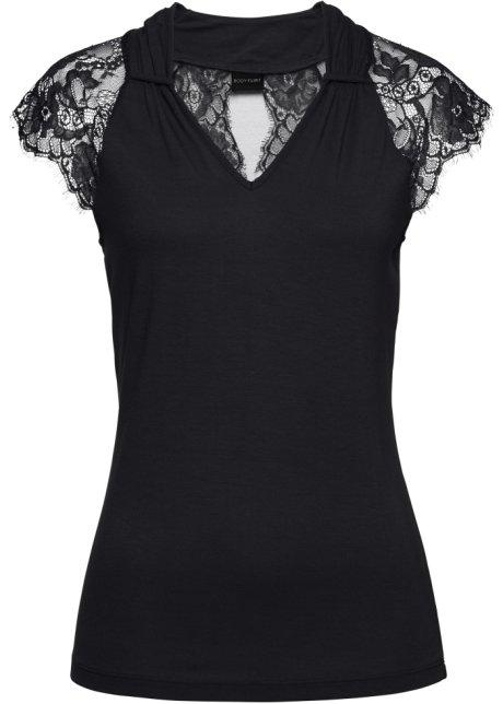 T-shirt manches courtes avec dentelle noir