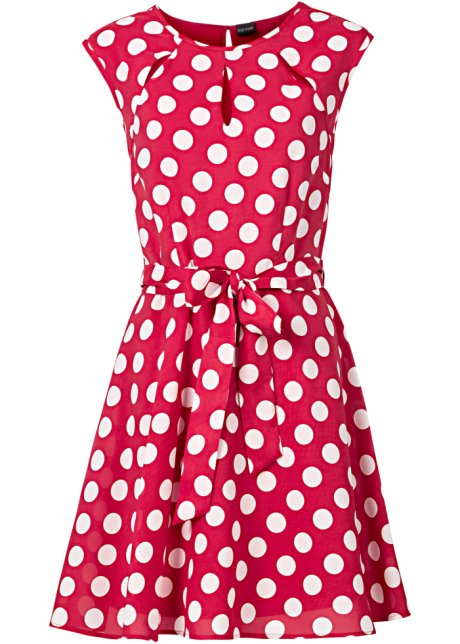 Robe a pois rouge et blanche