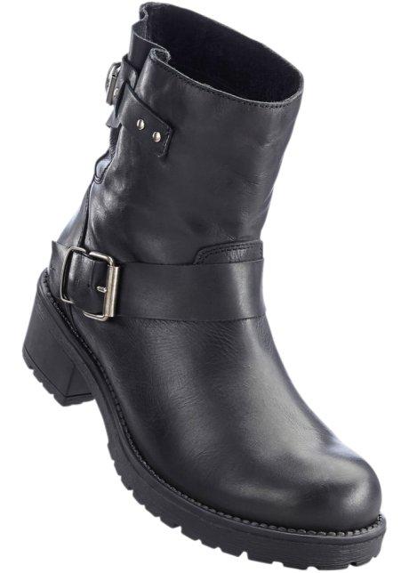 Extrêmement Boots motardes en cuir noir - Femme - bonprix.fr IC35