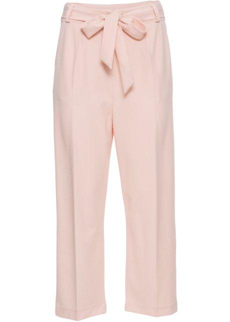 99b72ce85322 Pantalon à plis avec ceinture à nouer rosé - BODYFLIRT - bonprix.fr