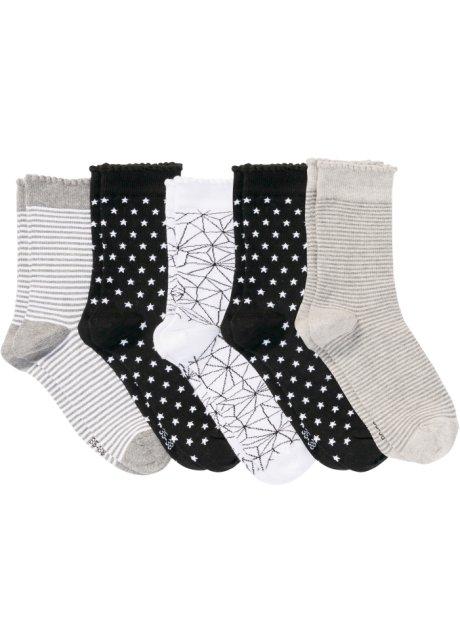 Lot de 5 paires de chaussettes femme noir blanc gris imprimé - bpc ... cab541c28d70