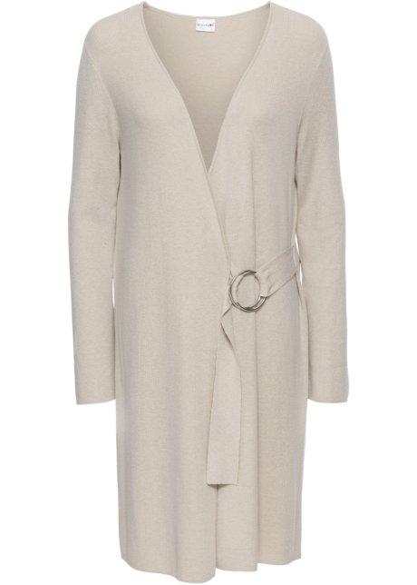 Manteau en maille avec ceinture à nouer beige - Femme - BODYFLIRT ... 355b9239d4d