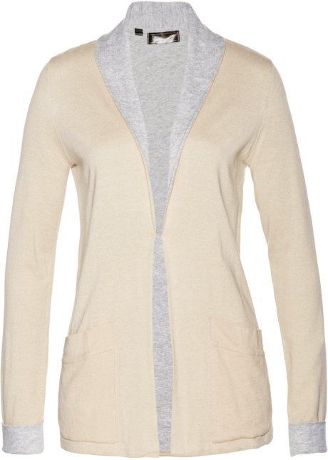 Gilet en maille beige galet/gris clair chiné - Femme - bpc selection ...