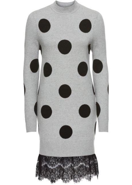 c06a9ece9af9 Robe en maille avec base en dentelle gris clair chiné noir - Femme ...