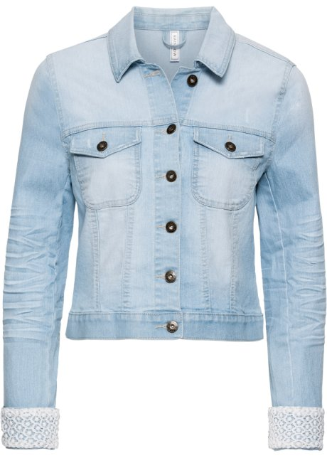 Veste en jean à empiècement dentelle bleu bleached - RAINBOW ... f7e069accbcd