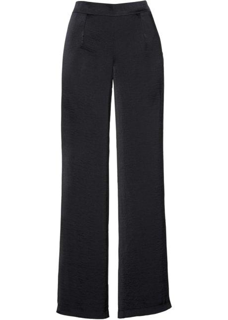 f327798b82d07 Pantalon satin ample avec fentes noir - bpc selection premium ...