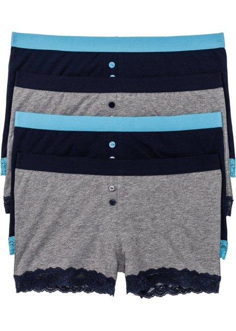 Lot de 4 boxers femme gris chiné bleu foncé - bpc bonprix collection ... 761ea1cbd8fe