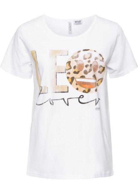 4865aa1a0cfa9 T-shirt à imprimé doré blanc/léopard - Femme - emoji - bonprix.fr