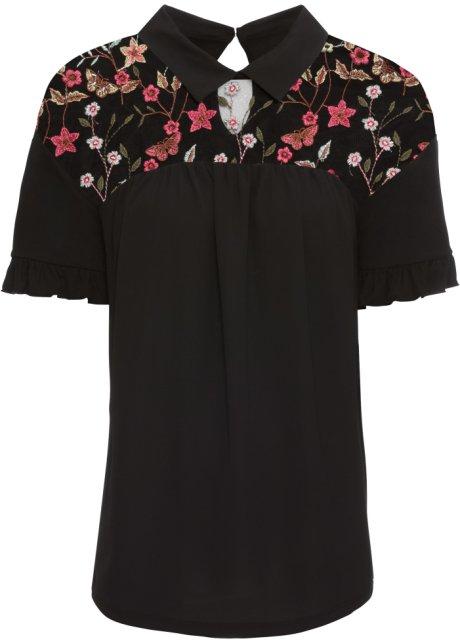 819a9bd3cc6b Blouse T-shirt noir à fleurs - Femme - - bonprix.fr