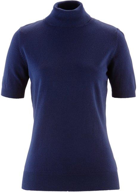 Pull col roulé, manches courtes bleu foncé - Femme - bonprix.fr f58f7b47a891