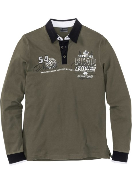 Manches Longues Foncé Bpc Olive Fit Polo Regular Homme Selection QedCorxBWE