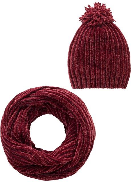 Bonnet et écharpe tube maille chenille (Ens. 2 pces.) rouge érable ... 938b53173b4