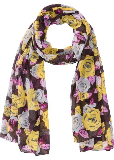 bc22650f300 Foulard à imprimé floral prune jaune maïs blanc gris clair - bpc ...