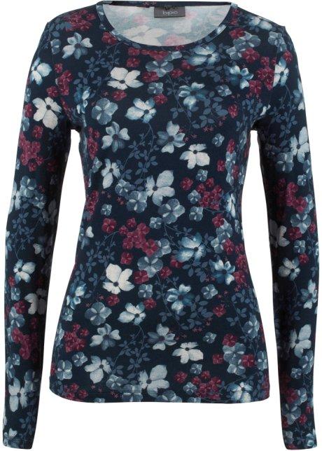 2cd239402673 T-shirt manches longues à imprimé floral bleu foncé à fleurs - Femme ...