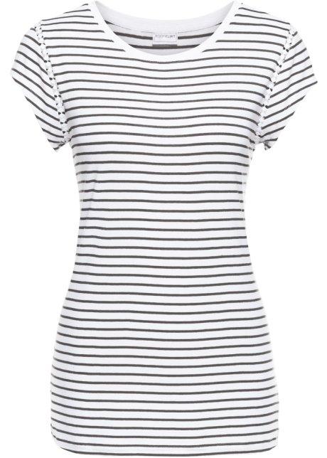 300a870089 T-shirt blanc / noir rayé - Femme - bonprix.fr