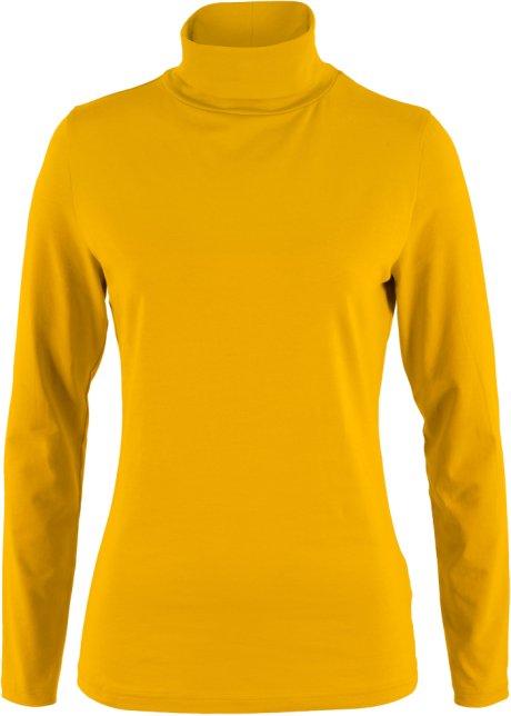 T-shirt col roulé extensible, manches longues jaune curry - Femme ... 30432bca570