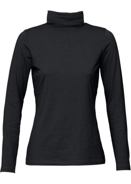 T-shirt col roulé extensible, manches longues noir - Femme - bonprix.fr a623c298d5a