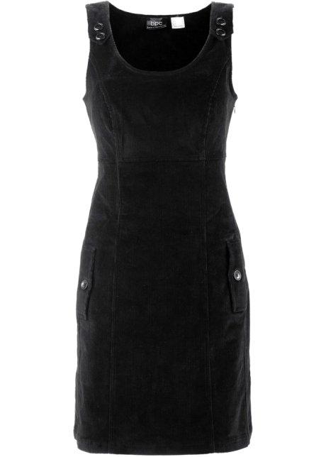 Bretelles Robe En Velours Noir À Côtelé qxIAHwIv